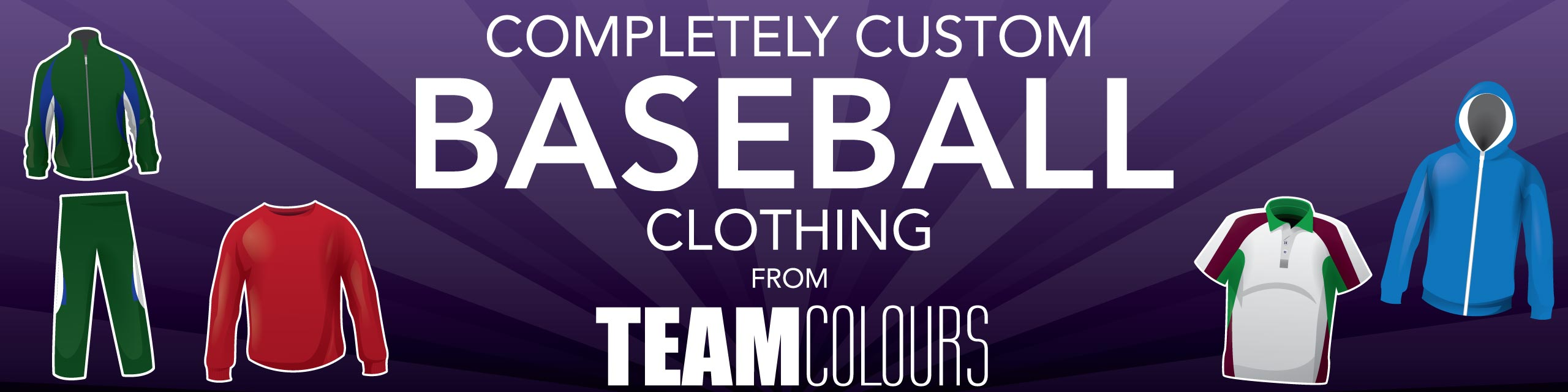 Design you own baseball clothing at Team Colours