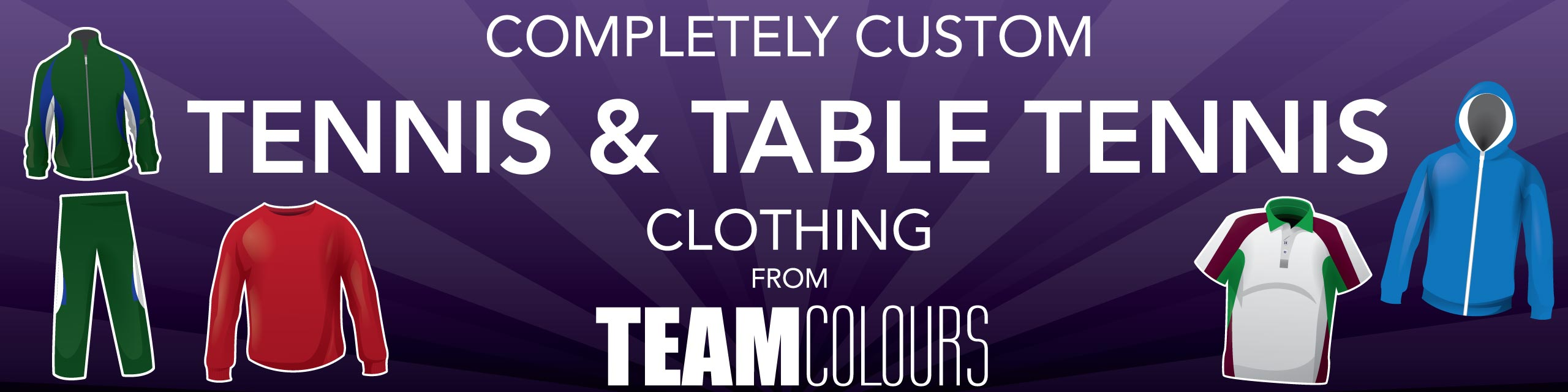 Design you own tennis and table tennis clothing at Team Colours