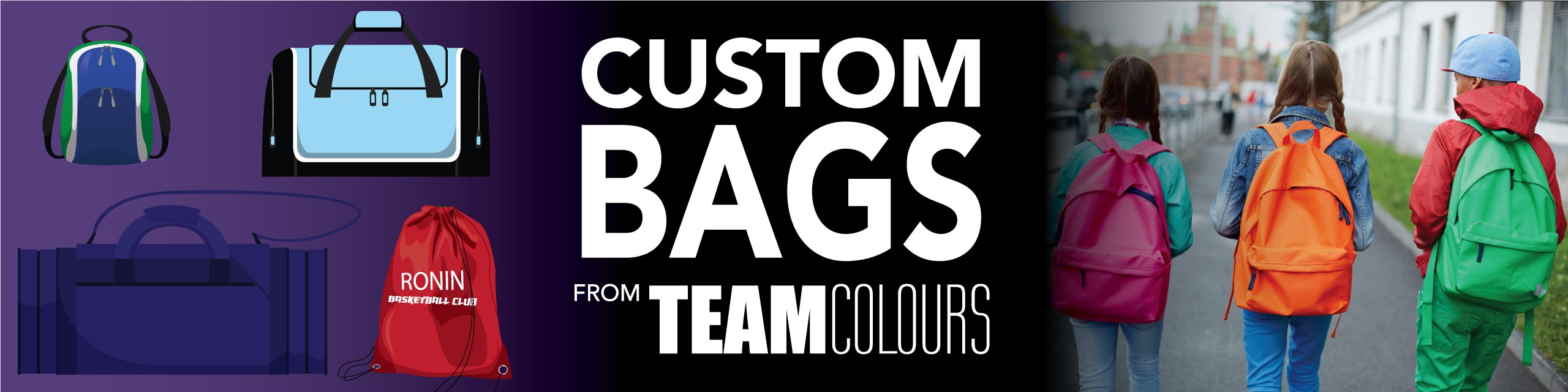 Design you own custom bags at Team Colours