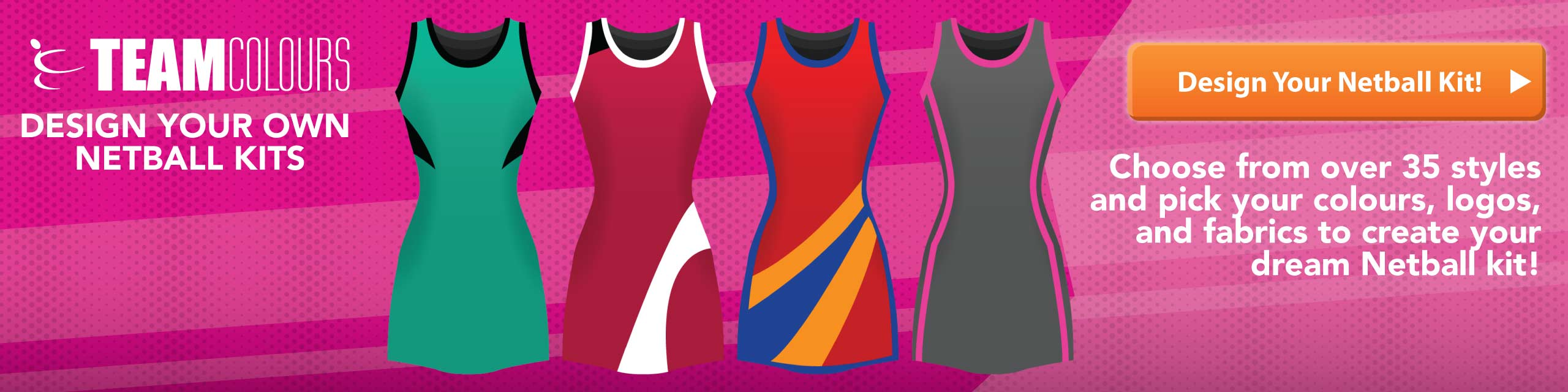 Design you own netball dresses, tops and skirts at Team Colours