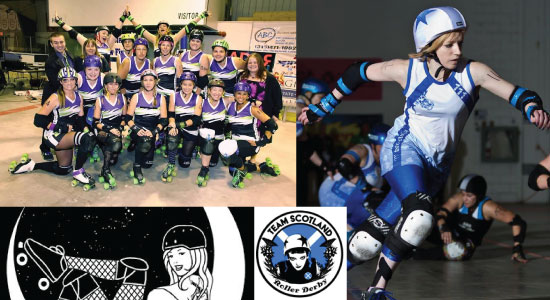Scotland and the Luna Chicks Roller Derby Teams